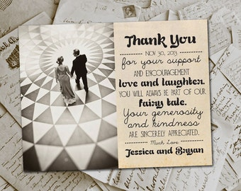 """Wedding Thank You Magnets - HollywoodDrive Vintage Photo Personalized 4.25""""x5.5"""""""