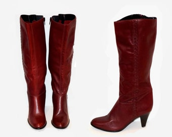 Size 7.5 Women's Vintage Ipanema Stacked High Heel Burgandy Knee High Boots - Made in Brazil