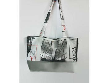 Grey and multicolor fabric Tote shopping bag