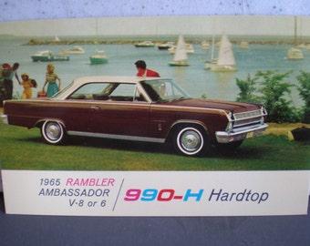 Vintage Mid Century Unused Car Advertisement Postcard - 1965 Rambler Ambassador V8 or 6 990-H Hardtop
