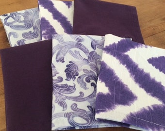 Purple Lunchbox Cloth Napkins, Set of 6, 10 inch, by CHOW with ME