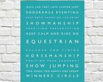 Equestrian - Personalized Decor, Typography, Personalized Print, Riding, Typography Print, - Horseback Riding, Horse Decor, Equestrian Decor