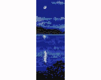 Moon Lake Loom Bead Pattern, Bracelet Pattern, Bookmark Pattern, Seed Beading Pattern Miyuki Delica Size 11 Beads - PDF Instant Download