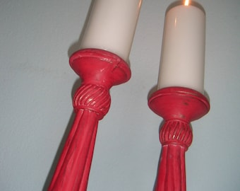 Shabby chic candle holder, shabby look candle chandelier made of wood-light My Fire