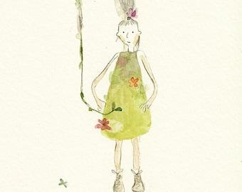 ORIGINAL childrens art, childrens wall art, original art for children, delicate watercolour art 'little girl' pencil drawing illustration