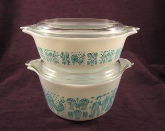 Pyrex Amish Butterprint Casserole Set of 2 Turquoise #471 - 1 pt & #473 - 1 Qt