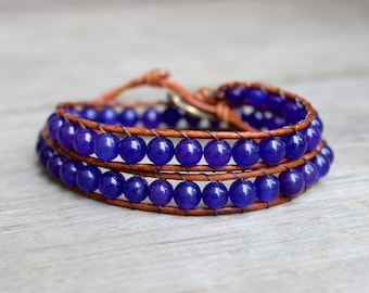 ON SALE! Beaded Leather Double Wrap Bracelet with Violet Purple Round Glass Beads on Natural Saddle Brown Genuine Leather 2 Wrap Bracelet