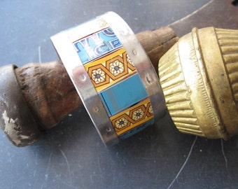 Tin Cuff, Gold and Blue Vintage Tin, Industrial Chic, 10th Anniversary