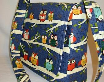 Messenger Bag  Hipster Adjustable Strap Owls Multi color Navy Medium