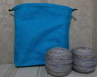 Blue dots: Large Drawstring Project bag