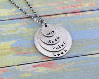 Quad Stack Hand stamped Pewter Mommy Necklace - 4 discs 4 children - sterling silver alternative