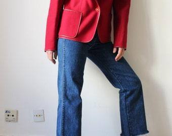 Uniform / pastel / Vintage jacket / Bordeaux red / leather & wool / straight cut
