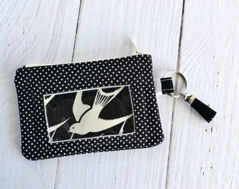 ID Wallet/ Keychain Wallet/ Badge Holder/ Mini Cash Card Wallet/ Black & White with Bird