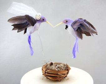 Purple Hummingbird Wedding Cake Topper: Bride & Groom Love Bird Cake Topper