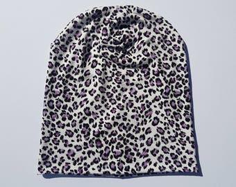 Leopard print beanie / Adult's slouchy hat / Knit hat / Cotton beanie