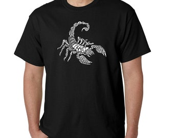 Men's T-shirt - Word Art - Created using Different Types of Scorpions