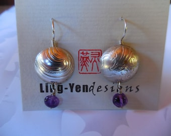 Silver Plate with fancy texture, sterling silver ear wires & Amethyst