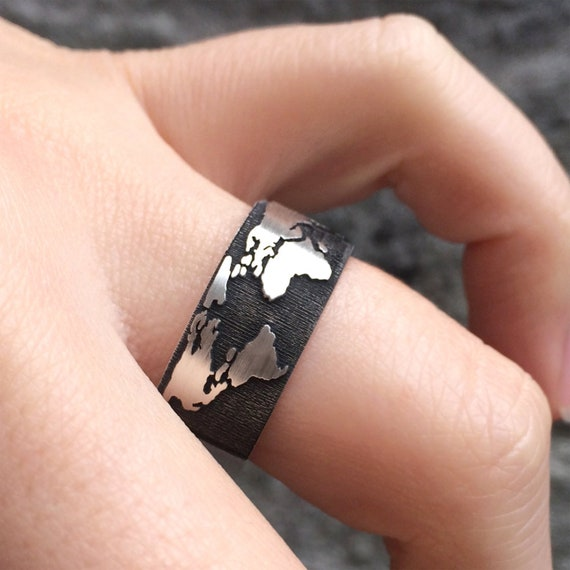 World map band ring in sterling silver metal world map ring gumiabroncs Gallery