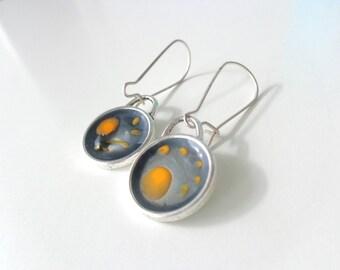 Yellow gray earrings, small earrings, round earrings