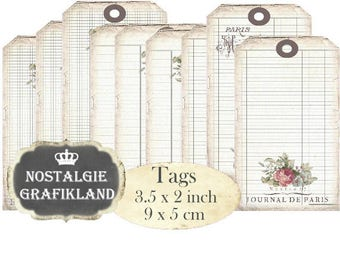 Writing Paper Paris digital printable Tags Grid Paper Shabby Chic Instant Download digital collage sheet T103 3.5x2 inch