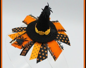 Witch Hat, Mini Witch Hat Hair Clip, Halloween Witch Hat, Halloween Witch Hat Hair Clip Bow, Halloween Hat, Witch Hat