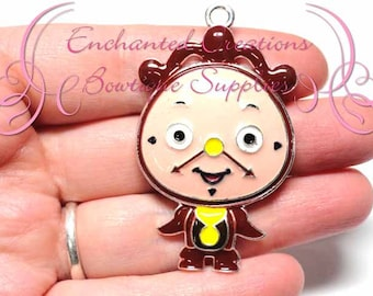 "2"" Cogsworth The Clock Inspired Charm, Chunky Pendant, Keychain, Bookmark, Zipper Pull, Chunky Jewelry, Purse Charm, Planner Charm"