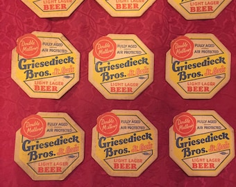 FREE SHIPPING-1947-Set of Nine-Griesedieck Bros.- Post Prohibition-Coaster