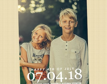 4th of July photo card - Independence Day greetings card (DATE Happy 4th of July)