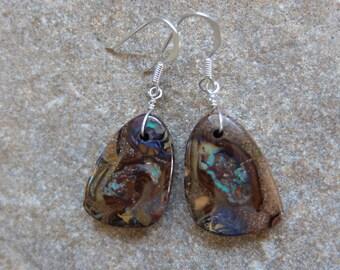Boulder Opal earrings - earthy, natural, simple stone jewelry -  handmade in Australia by NaturesArtMelbourne