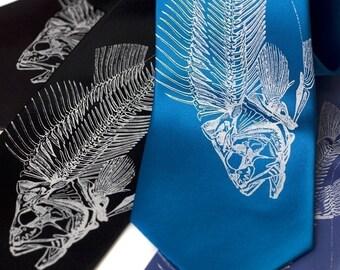 Fish Skeleton necktie. Fisherman's silkscreened microfiber tie.