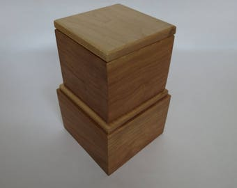 Pair of Small Wooden Boxes From Cherry and Maple