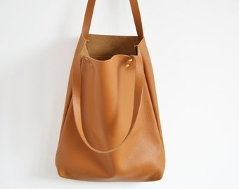 Leather tote bag, Leather tote, Tote bag leather, Tote bag, Leather tote woman, Leather tote, Leather tote - MADRID - Tan Leather Tote