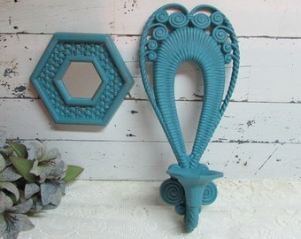 Turquoise Candle Sconce and Framed Mirror ~ Shabby Chic ~ Distressed Set of 2