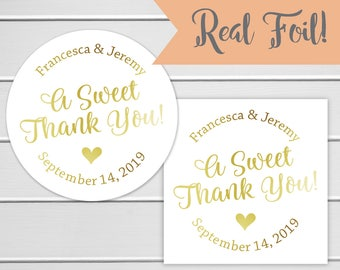 A Sweet Thank You Favor Stickers, Wedding Favor Sticker, Favor Stickers, Favor labels (#613-F)