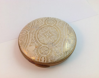 Vintage Powder Compact, Genuine Italian Tooled Leather cover
