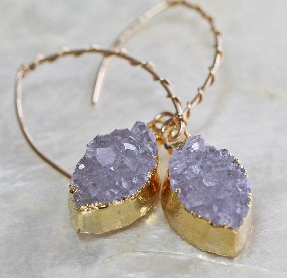 Dainty Druzy Earrings with Drop