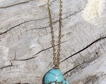 Turquoise pendent on soild brass chain