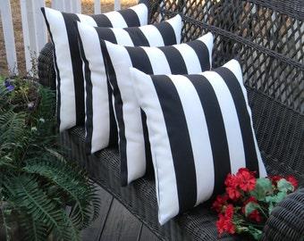 "SET OF 4 - 20""  Indoor / Outdoor Black & White Stripe Decorative Throw Pillows"