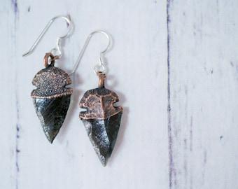 Dragonglass jewelry | Obsidian arrowhead earrings | Arrow head earrings | Dragonglass earrings | Dragonglass arrowhead dangle earrings