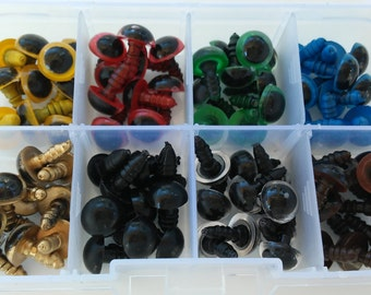 40 pairs of eyes of security, 8 different colors, 10 mm - 40 pairs of 10 mm Safety eyes Box, 8 different colors