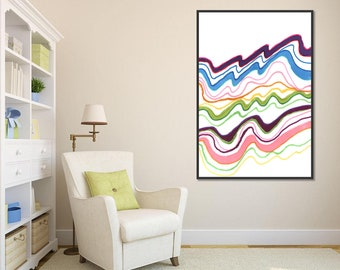 Color waves lines abstract modern wall art print decor