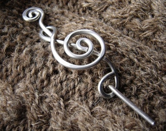Aluminum Treble Clef Shawl Pin, Musician Gift Scarf Pin, Music Gift Sweater Clip, Brooch, Fastener, Hair Pin, Closure, Music Jewelry, Women