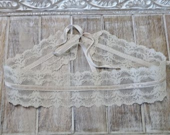 Lace Headband, Beige Lace Hairband,Country Wedding Hairband, Taupe Beige Velvet Ribbon Hairband, Wide Hairband, Victorian