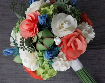 Paper Bridal or Bridesmaid Bouquet - Green, Coral, Blue, Cream, White - Hydrangea, Roses, Dianthus, Thistle, Succulents