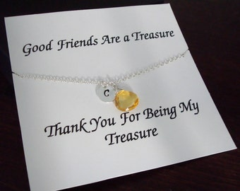 Citrine Briolette with Letter Initial Silver Necklace ~Personalized Jewelry Gift for Sister, Best Friend, Bridal Party, Graduation