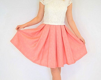 Coral pleats women skirt Flared women skirt Midi women skirt knee length A-line skirt Pleated skirt Classic women skirt Skirt for women