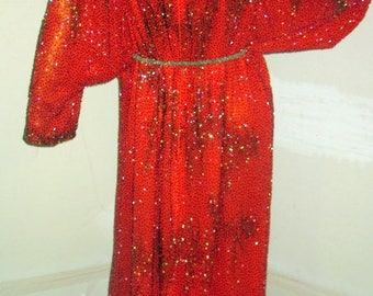 get your sparkle on in this gorgeous vintage 80s beaded evening dress sz med to large