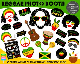 PRINTABLE Reggae Photo Booth Props–Reggae Party Props-Jamaica Photo Props-Rasta Props-Music Photo Booth Props-Reggae Props-Instant Download