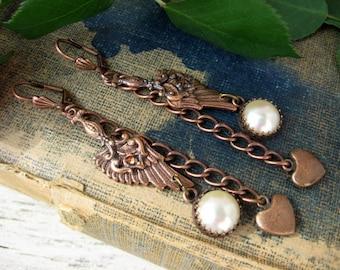 Copper Angel Wing Earrings, Boho Earrings, Shoulder Duster Earrings, Earrings, E422