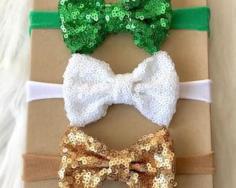 Sparkle Bow Headband Set, Sparkle Bow Headband, Nylon Headband, St. Patricks Day Headband, Baby Headband, Newborn Headband, Infant Headband